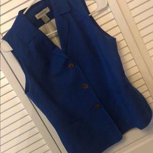 Vintage Ann Taylor blue vest button up sz 4